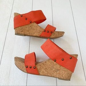 Lucky Brand Magnolia Cork Wedge in Orange